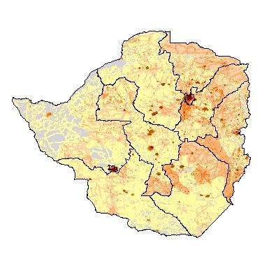 Population Density Map Zimbabwe.Basic Maps